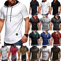 Men's Short Sleeve Hoodie Hooded Tops T-shirt Summer Casual Slim Fit Muscle Tee