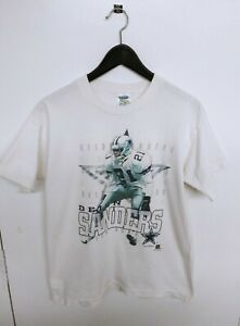 Vtg 1996 Dallas Cowboys Deion Sanders Official Fan Made in USA T-Shirt Size (M)