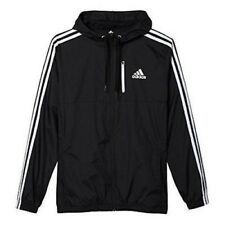 Adidas Men's Athletics Essential Woven Jacket With Hood Black/White Sz 2Xlt New
