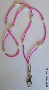 ID Badge Holder HANDMADE Beaded Lanyard Fashion Necklace Silver Hot Pink Pearls