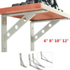 "Pair Stainless Shelf Brackets,6"",8"",10"",12""L Shelf Support Right Angle Brackets"