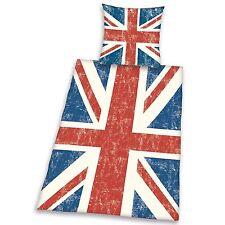 VINTAGE UNION JACK SINGLE DUVET COVER SET UK BRITAIN FLAG NEW
