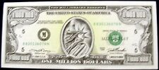 US ONE MILLION DOLLAR BILLS 1996 LOT OF 2 GAG GIFT STATUE OF LIBERTY