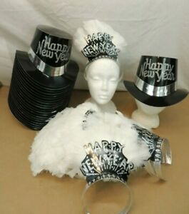 NEW YEARS EVE PARTY SUPPLIES 22 TOP HATS 23 FEATHER TIARAS