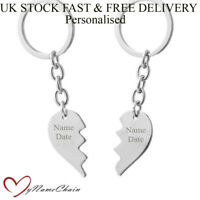 Personalised 2 Broken Heart Keyring Metal Custom Free Engraving Gift UK