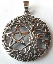 Sterling Silver (925)  Tree  Of  Life With  Pentagram  Pendant  !!   New !!