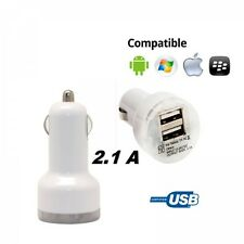 Cargador doble mechero coche para movil tablet 2.1A-1A dos USB blanco 12-24v