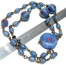 ANTIQUE ART DECO c 1930s PAINTED CORNFLOWER BLUE FLORAL GLASS BEAD NECKLACE,