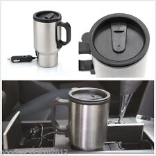 Portable 12V Stainless Steel Autos SUV Caravanning Camping Water Heated Cup Mug