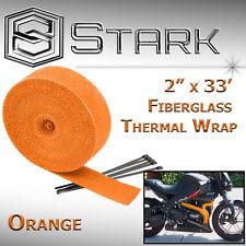 """2"""" x 33' In x Ft Motorcycle Protection Header Exhaust Heat Wrap Ties - ORANGE"""
