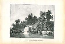 Moulin sur le bord de la rivière par Meindert Hobbema GRAVURE ANTIQUE PRINT 1913