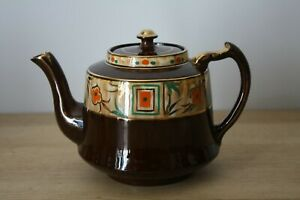 Vintage Brown Hand Painted & Gilded Gibson Teapot Tea Pot