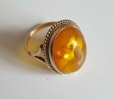 9k solid gold oval Baltic Amber ring 5.63g size M / 6