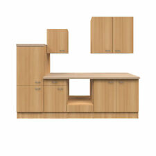 Küche ohne Elektrogeräte Küchenzeile Einbauküche Küchenblock 270 cm buche
