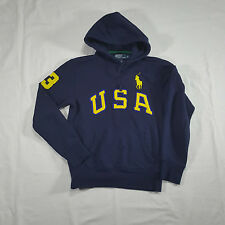 Polo Ralph Lauren Navy Yellow USA Hoodie Sweatshirt SMALL #3 Big Pony SPELL OUT