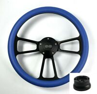 """14"""" Black Steering Wheel (Sky Blue Half Wrap, Chevy SS Horn Button, Adapter A01)"""