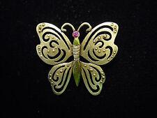 """""""Jj"""" Jonette Jewelry Bronze Pewter Green & Pink Butterfly Pin"""