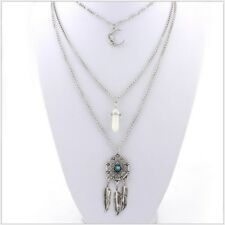 Bohemian Silver Long Layered 3 Layer Fashion Feather Opal Moon Boho Necklace AE