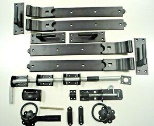 """Double Gate Kit 24"""" 600mm Garage Door Hinges in Galvanised or Black Heavy Duty"""
