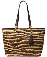 1ce72e875636 MICHAEL KORS NWT $448 Malibu Extra-Large Shoulder-Bag Tote Raffia Brown  Leather