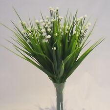 Set of 3 Artificial Sword Grass Bushes With Cream Gypsophila - 30 cm Flower