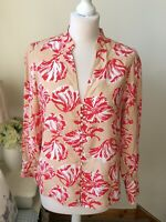 FRNCH Paris Dark Cream Red Flower Print Long Sleeves Blouse Top Size M UK 10 12