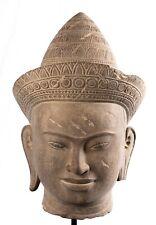More details for antique angkor wat style sandstone vishnu head - protector & preserver -70cm/28