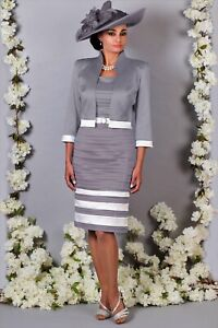 NEW with tags RRP £820. Luis Civit Pleated Dress and Jacket Size 10 Grey/White