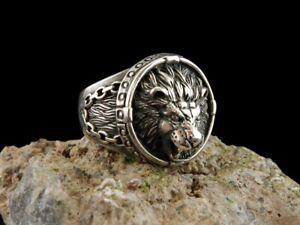 Lion Ring Turkish Handmade Ottoman Style 925 Sterling Silver  Men's 8  USA