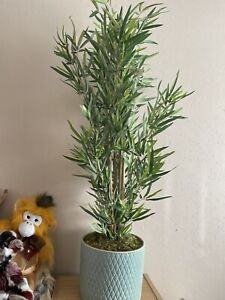 John Lewis Peony Artificial Bamboo Plant In Teal Ceramic Pot RRP £150 Brand New!