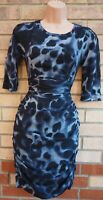 WHISTLES BLUE BLACK ANIMAL PRINT SILK STRETCH RUCHED ZIP BACK BODYCON DRESS 6 8