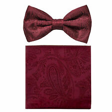 New formal men's pre tied Bow tie & hankie set paisley pattern burgundy wedding