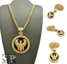 "Gold PT Egyptian Horus Bird Round Pendant 6mm 24"" Cuban Chain Hip Hop Necklace"