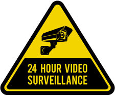 45-200mm CCTV 24 Hour Surveillance Triangle Sign Sticker Safety Warning Camera
