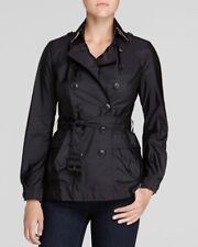 NWT Burberry Brit ladies Peasdale' Belted Short Trench black Coat size 8
