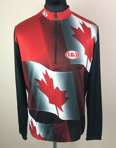 Louis Garneau CANADA Long Sleeve Cycling Jersey Men's Size XL Maple Leaf 1/2 Zip