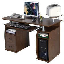Computer PC Desk Work Station Office Home Monitor&Printer Shelf Furniture Walnut