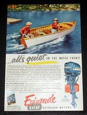 1954 OLD MAGAZINE PRINT AD, EVINRUDE QUIET OUTBOARD MOTORS, QUIET ON THE WATER!