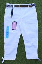 Bandolino Womens Amy White Jeans Belted Capri Ties at Hem Slim Leg Pants Size 10