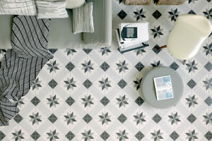 £15.89/m2 Victorian Marrakesh Grey Porcelain Tile 18.6x18.6cm Wall Floor Sample