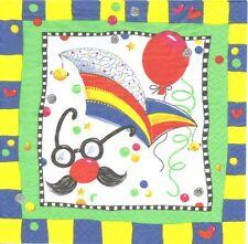 2 Serviettes en papier Fête Masque Clown Decoupage Paper Napkins Party Mask