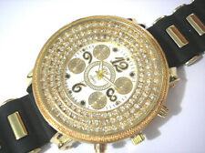 Iced Out Bling Bling Big Case Rubber Band Men's Watch Gold