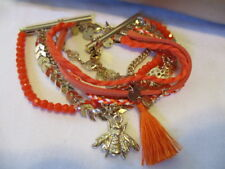 AVON Hand-Braided Layers/Beads/Tassel/Goldtone/Orange/Chains/BEE Charm Bracelet