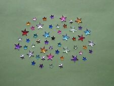 50 - PLASTIC RHINESTONE FLATBACKS - STARS - ASSORTED COLORS & SIZES - NEW!!
