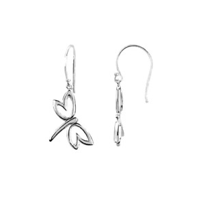 14K Gold Dragonfly Earrings Dangle French Wire Hook White Gold