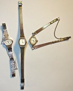 LOT of (3) VINTAGE Ladies WRISTWATCHES~PULSAR~SEIKO~CARAVELLE~AS-IS~LOT #18! NR!