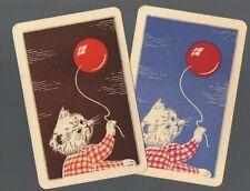 Playing Swap Cards   2 VINT CAT/KITTEN & BALLOON VERY EARLY AUSTRALIAN CARDS W67