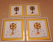 4 lovely mid century NOS Georges Briard enamel over metal lemon tree wall tiles