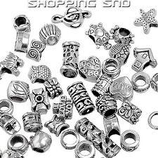 50PCS MIX Silver Tone Tibetan Charm Beads Rondelle Spacer Murano Bracelet Making
