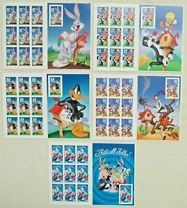 Five 5 Booklets x 10 = 50 of LOONEY TUNES Bugs Bunny Complete Set US USA Stamps